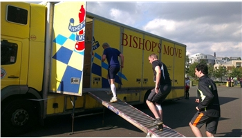 Runners entering the Bishop's Move obstacle on the Road Block Run, Edinburgh