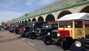 Bishop's Move's 1928 historic commercial vehicle on Marine Parade in Brighton