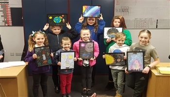 The Edinburgh school children winners of the SPACE drawing competition