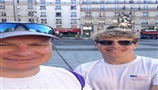 Bishop's Move's, David Guiel, with son Rupert - set to be the New York City Marathon's youngest runn