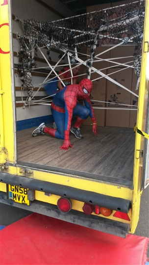 Spiderman making his way though the Bishop's Move webbing