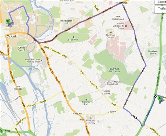 The Centenary Cavalcade Route through Oxford