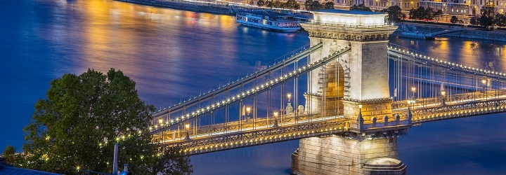 Bridge over the river in Budapest at night with city lights
