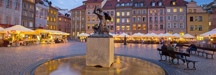 Statue in a square in Warsaw, Poland
