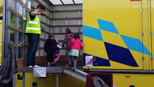 A Bishop's Move removals van provided one of the fun activities at The Big Lunch%44 Dalkeith%44 Scotland.