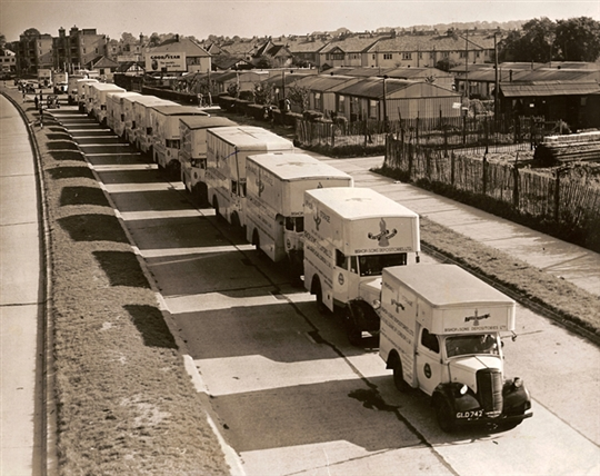 Convoy of Bishop's Move trucks on the Kingston-By-Pass