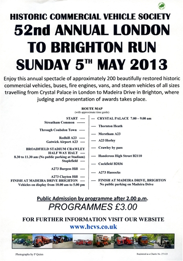 The 52nd HCVS London to Brighton ScheduleD 5th May 2013