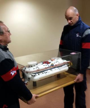 Moving a model submersibel for James Fisher Defence