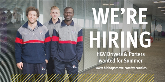 Bishop's Move are hiring casual HGV Drivers and Porters for Summer